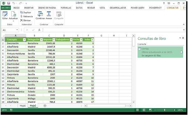 Hojas de Excel con la columna insertada (Id).