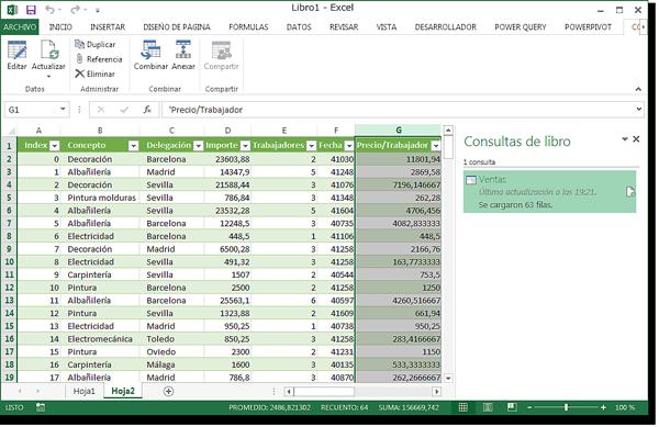 Hojas de Excel con la columna insertada Precio/Trabajador.