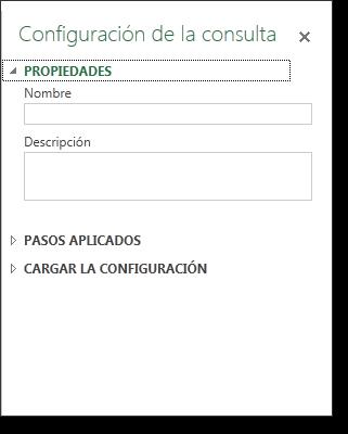 Panel configuración consulta: propiedades.