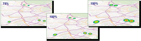 Muestras de radio de influencia al 75%, 100% y 150%