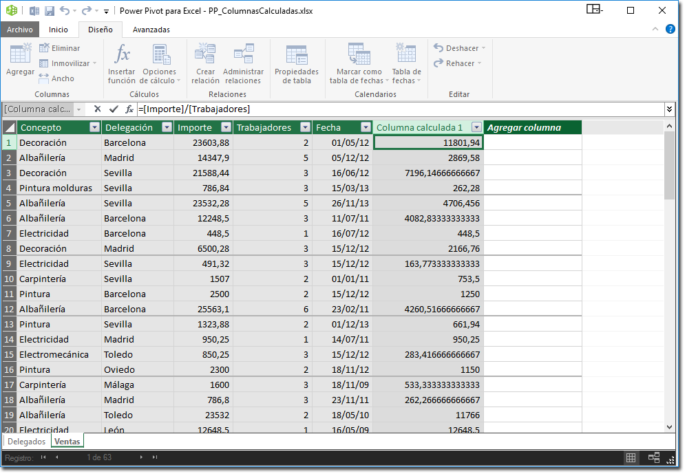 Hoja PowerPivot con columna CalculatedColumn1 creada.