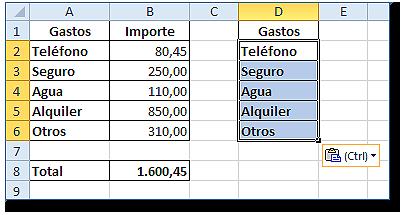 Hoja Excel con rango D2:D6 copiado de A2:A6