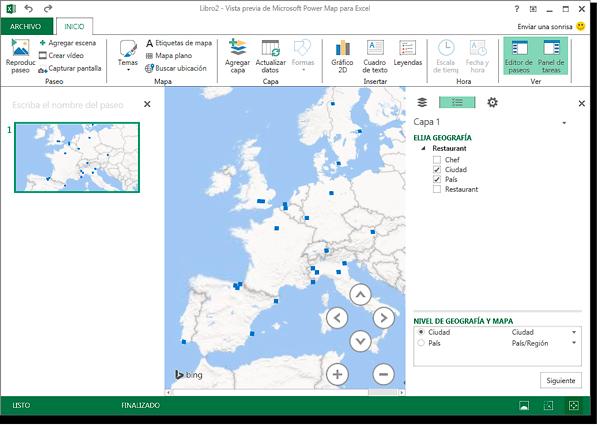 Ventana de Power Map, con geografía país y ciudad