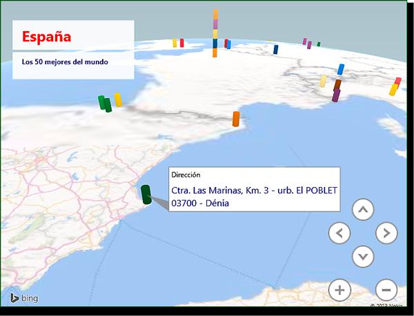 Vista de mapa con cuadro de texto y anotación.