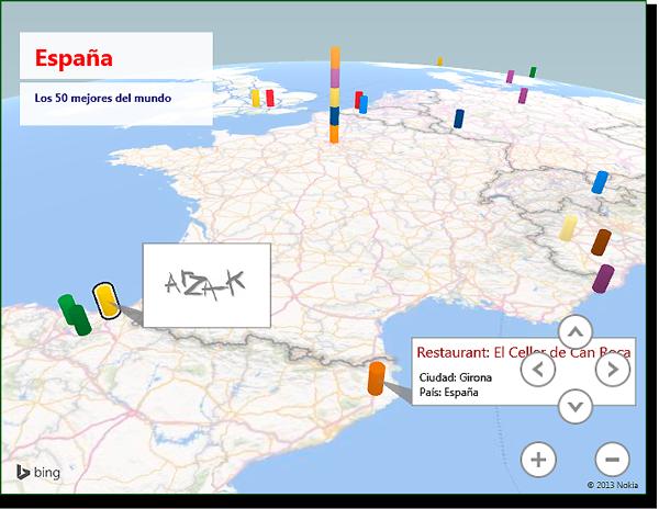 Vista de mapa con leyenda con cuadro de texto y anotación de imagen.